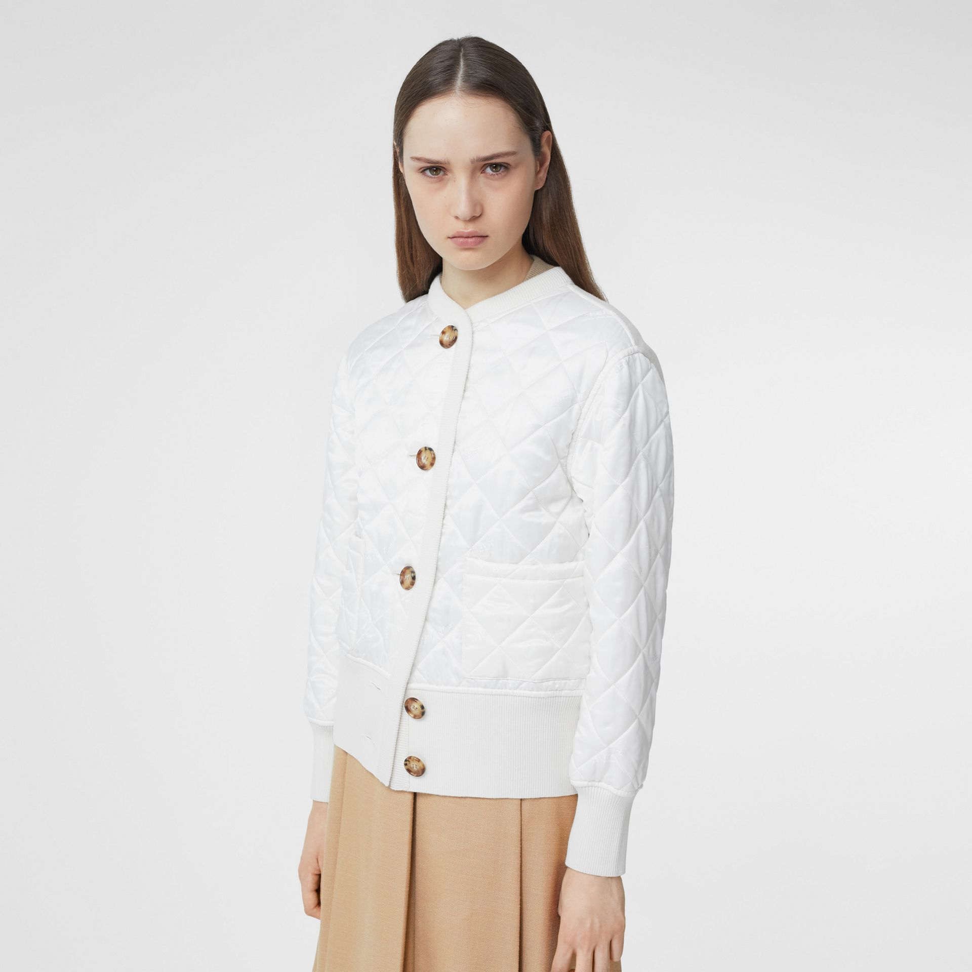 Logo Jacquard Diamond Quilted and Wool Blend Jacket in White - Women | Burberry Australia - gallery image 0