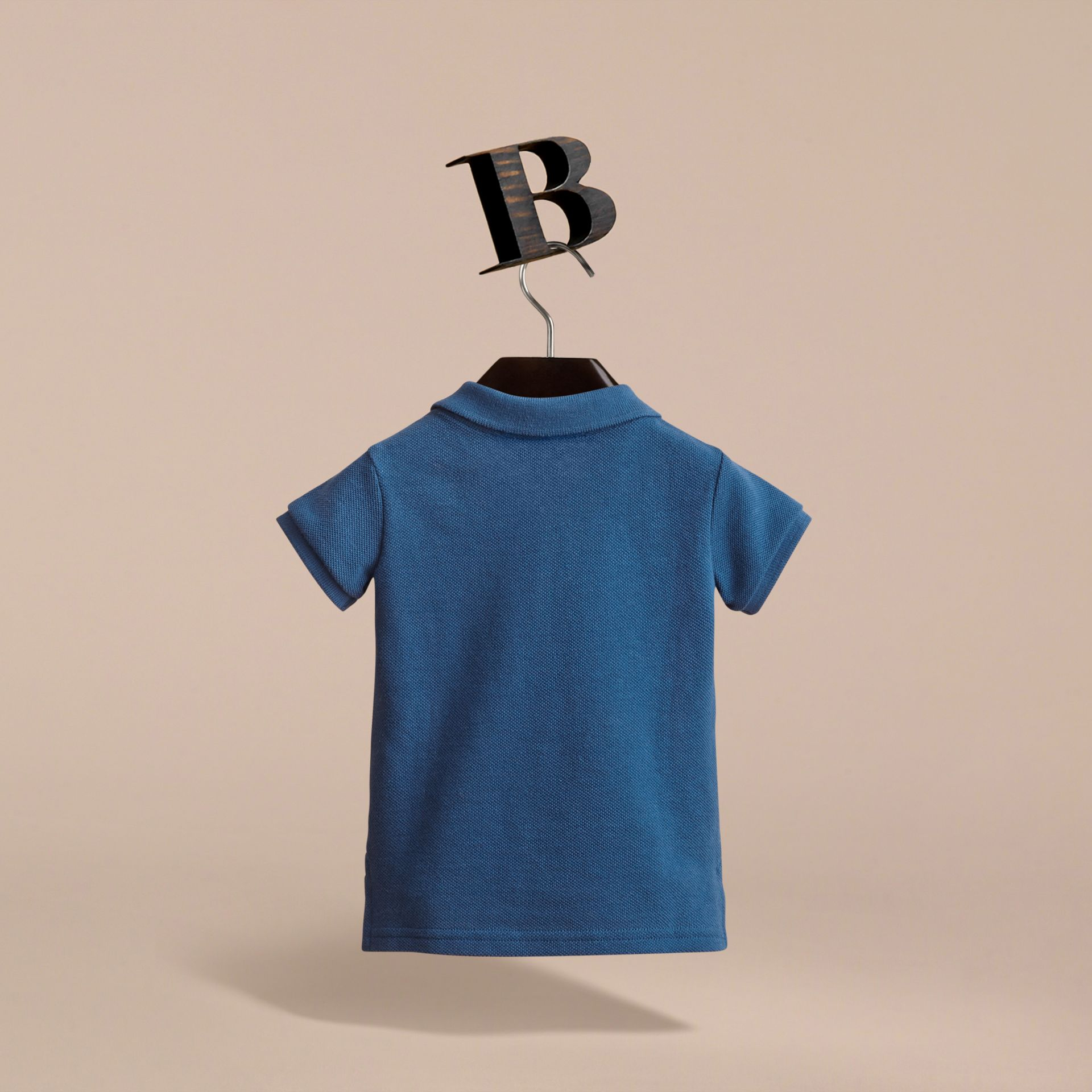 Check Placket Cotton Piqué Polo Shirt in Marine Blue - Children | Burberry United Kingdom - gallery image 4