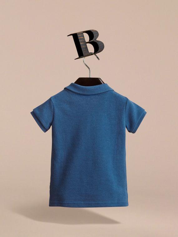 Check Placket Cotton Piqué Polo Shirt in Marine Blue - Children | Burberry United Kingdom - cell image 3