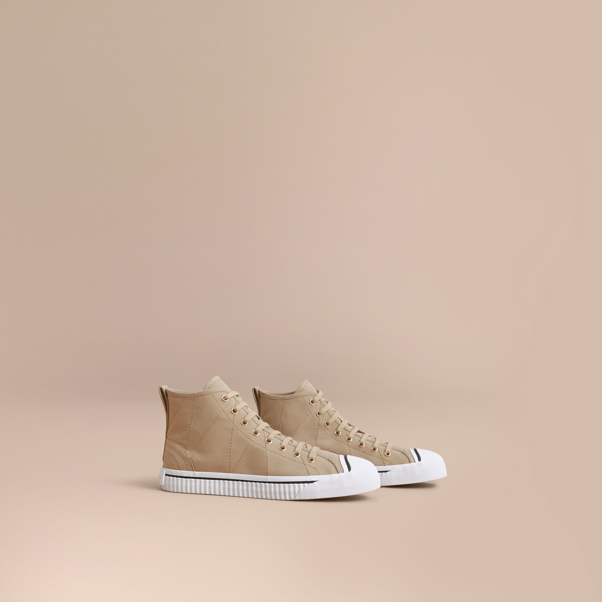 Topstitch Cotton Gabardine High-top Trainers in Honey - Men | Burberry United States - gallery image 1