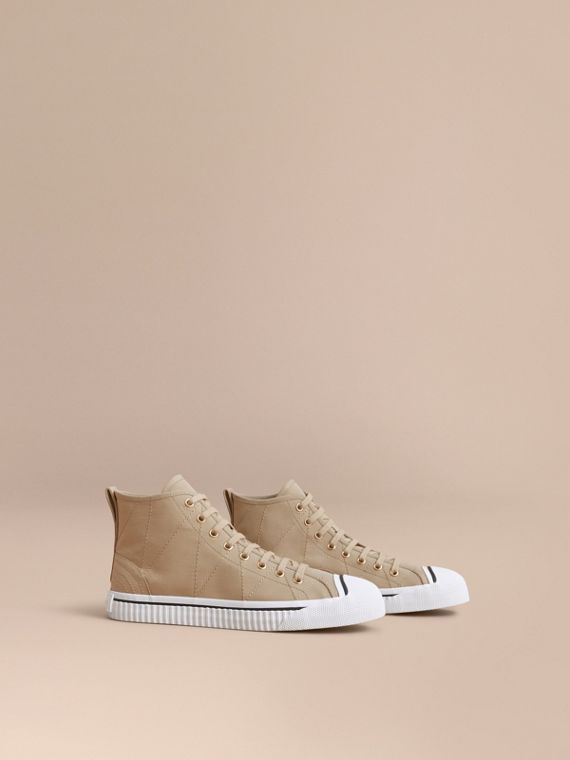 Topstitch Cotton Gabardine High-top Trainers in Honey