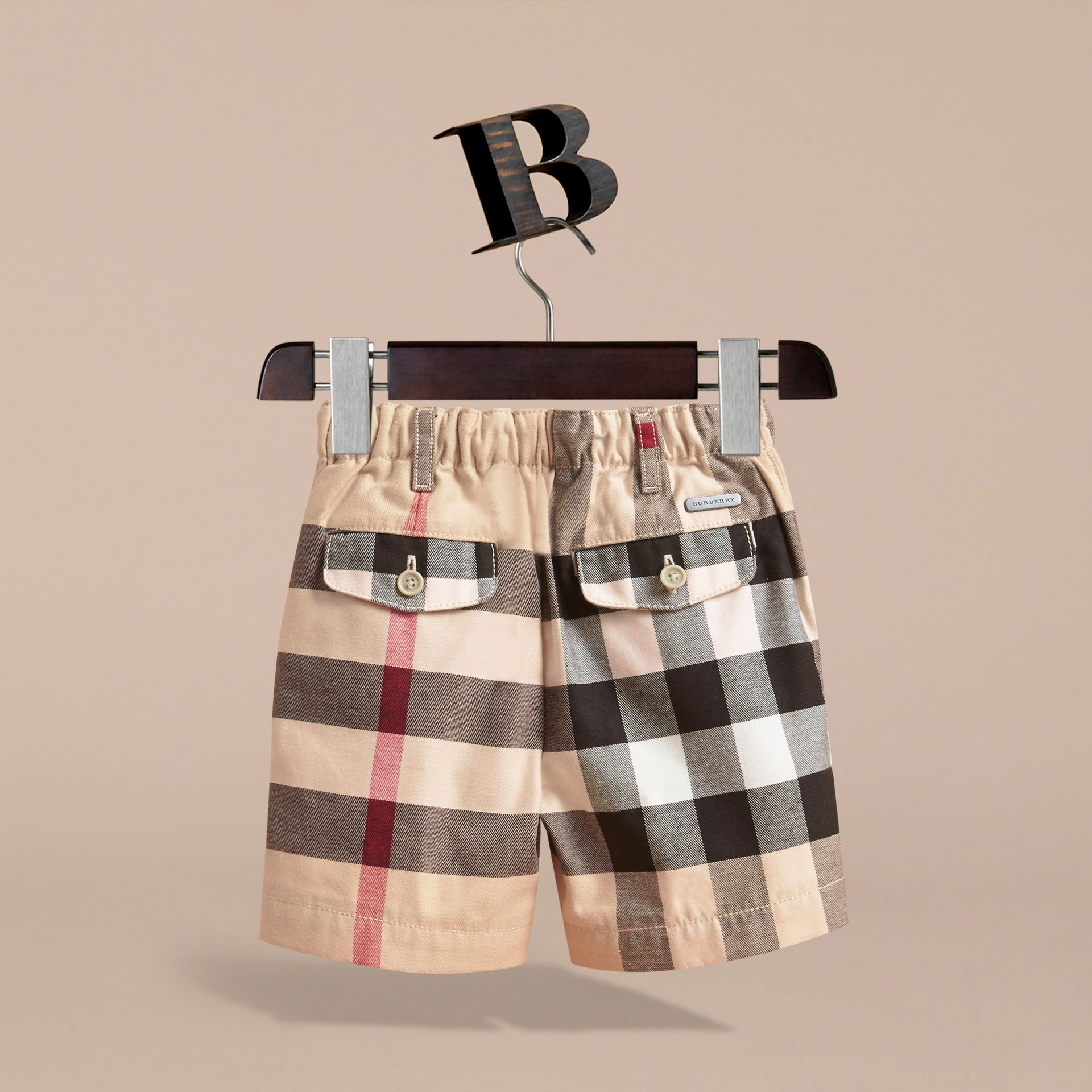 Check Cotton Chino Shorts in Stone | Burberry Australia - gallery image 4