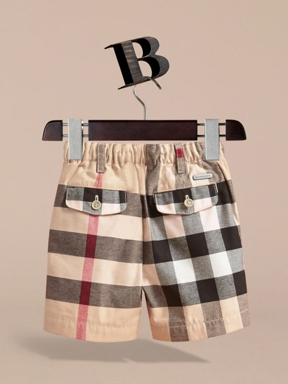 Check Cotton Chino Shorts in Stone | Burberry - cell image 3