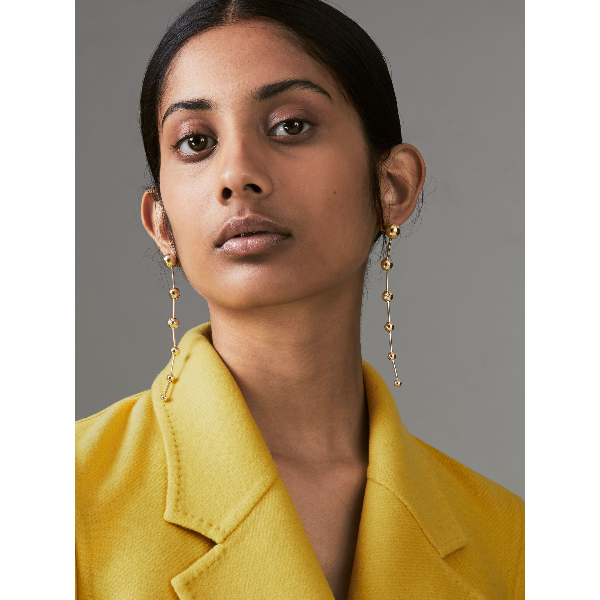 Crystal Charm Gold-plated Drop Earrings in Light - Women | Burberry United Kingdom - gallery image 2