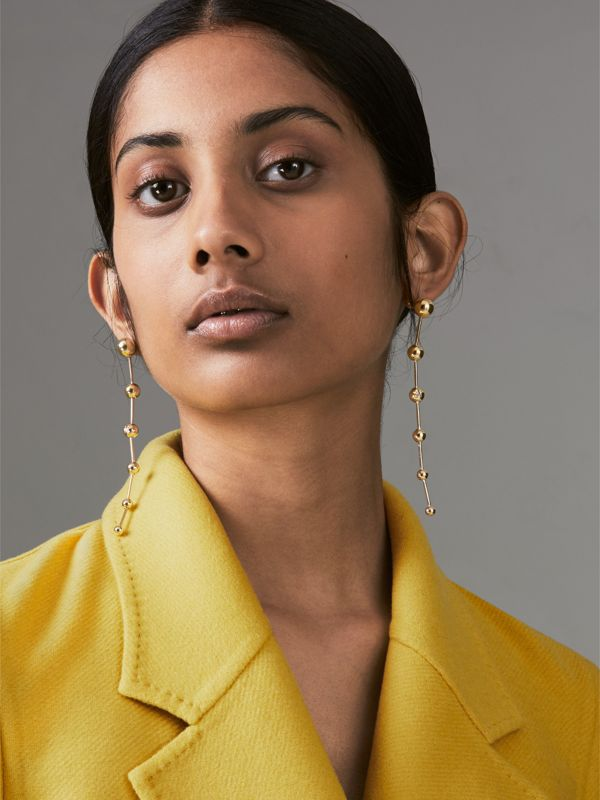Crystal Charm Gold-plated Drop Earrings in Light - Women | Burberry United States - cell image 2