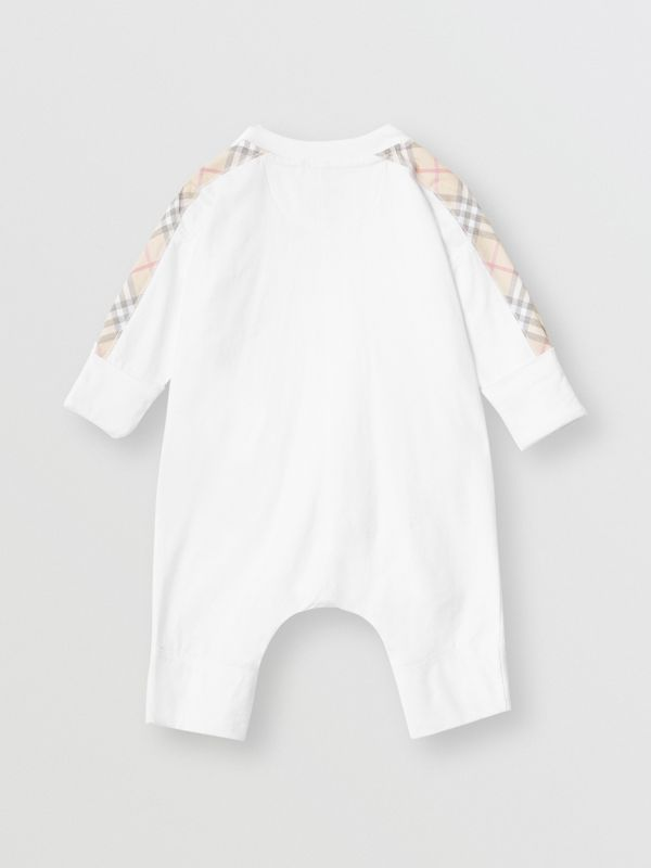 Check Cotton Three-piece Baby Gift Set in White - Children | Burberry United States - cell image 3
