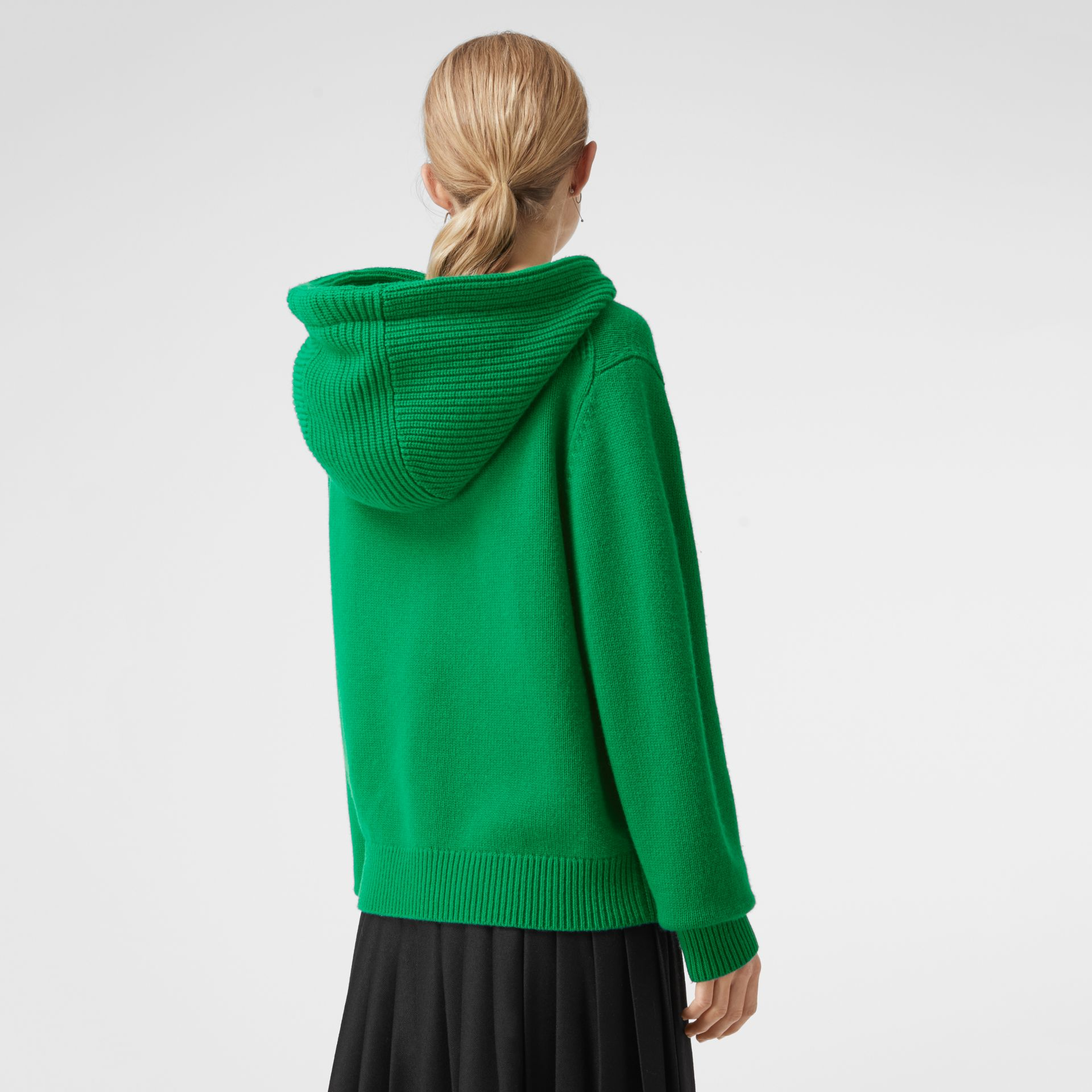 Embroidered Archive Logo Cashmere Hooded Top in Vibrant Green - Women | Burberry United Kingdom - gallery image 2