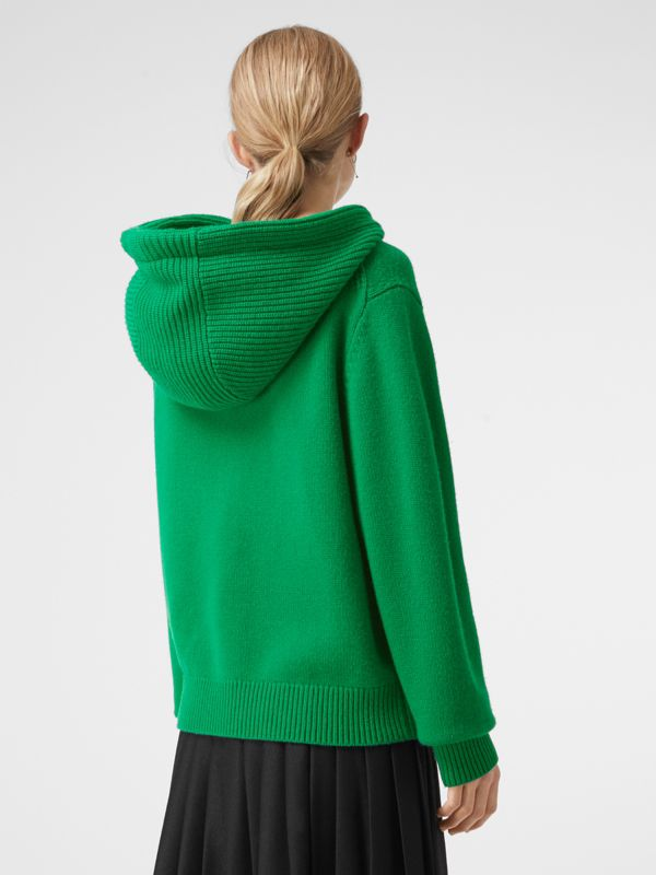 Embroidered Crest Cashmere Hooded Top in Vibrant Green - Women | Burberry - cell image 2