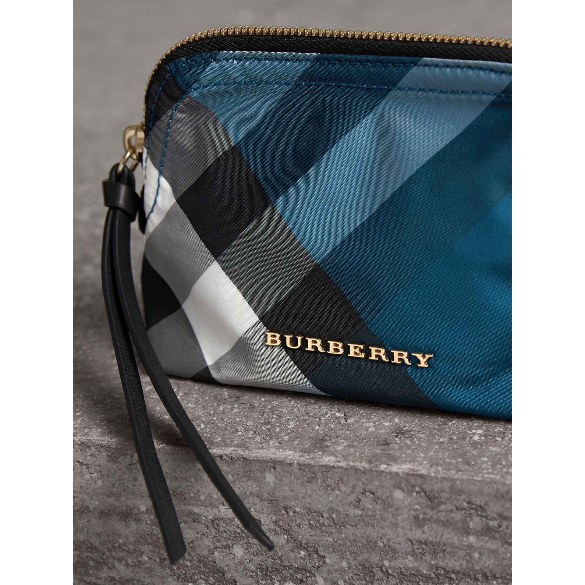 Small Zip-top Check Pouch in Marine Blue - Women | Burberry - gallery image 2