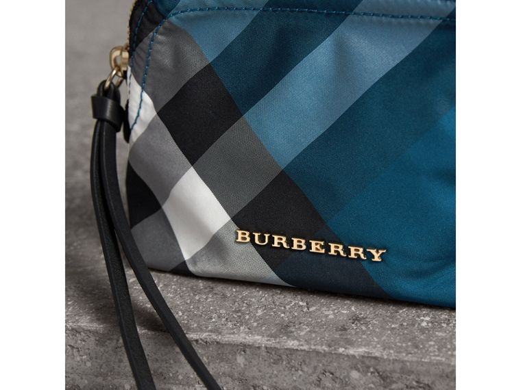 Small Zip-top Check Pouch in Marine Blue - Women | Burberry - cell image 1