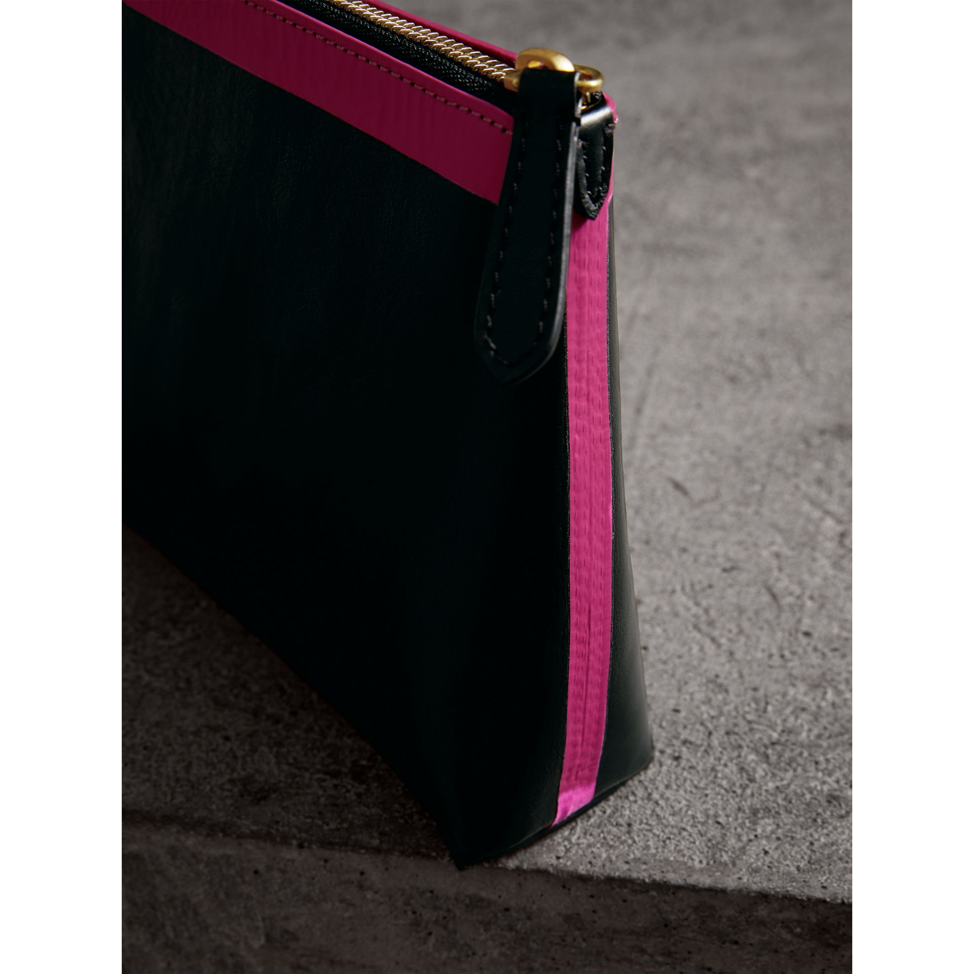 Bonded Leather Zip Pouch in Black/neon Pink - Women | Burberry United States - gallery image 1