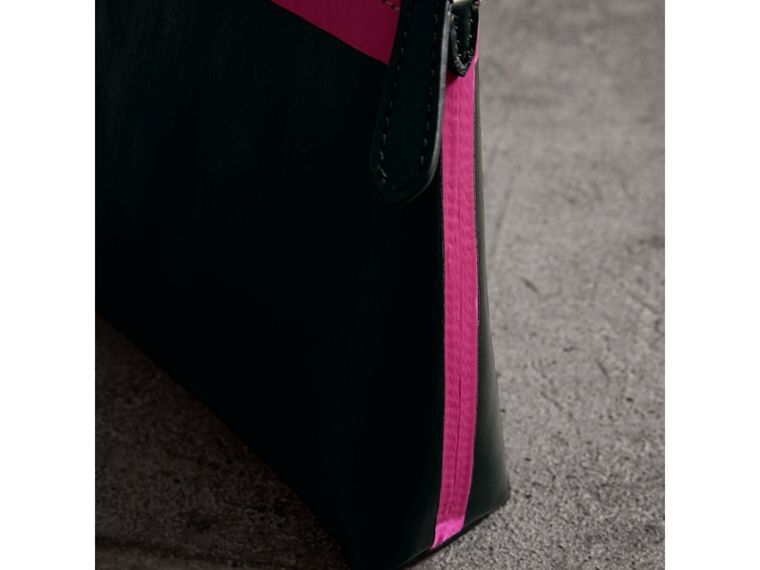 Bonded Leather Zip Pouch in Black/neon Pink - Women | Burberry - cell image 1