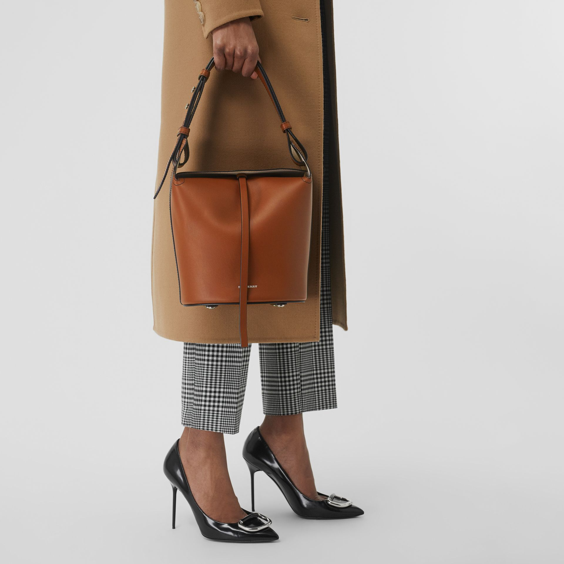 The Small Leather Bucket Bag in Tan - Women | Burberry - gallery image 5
