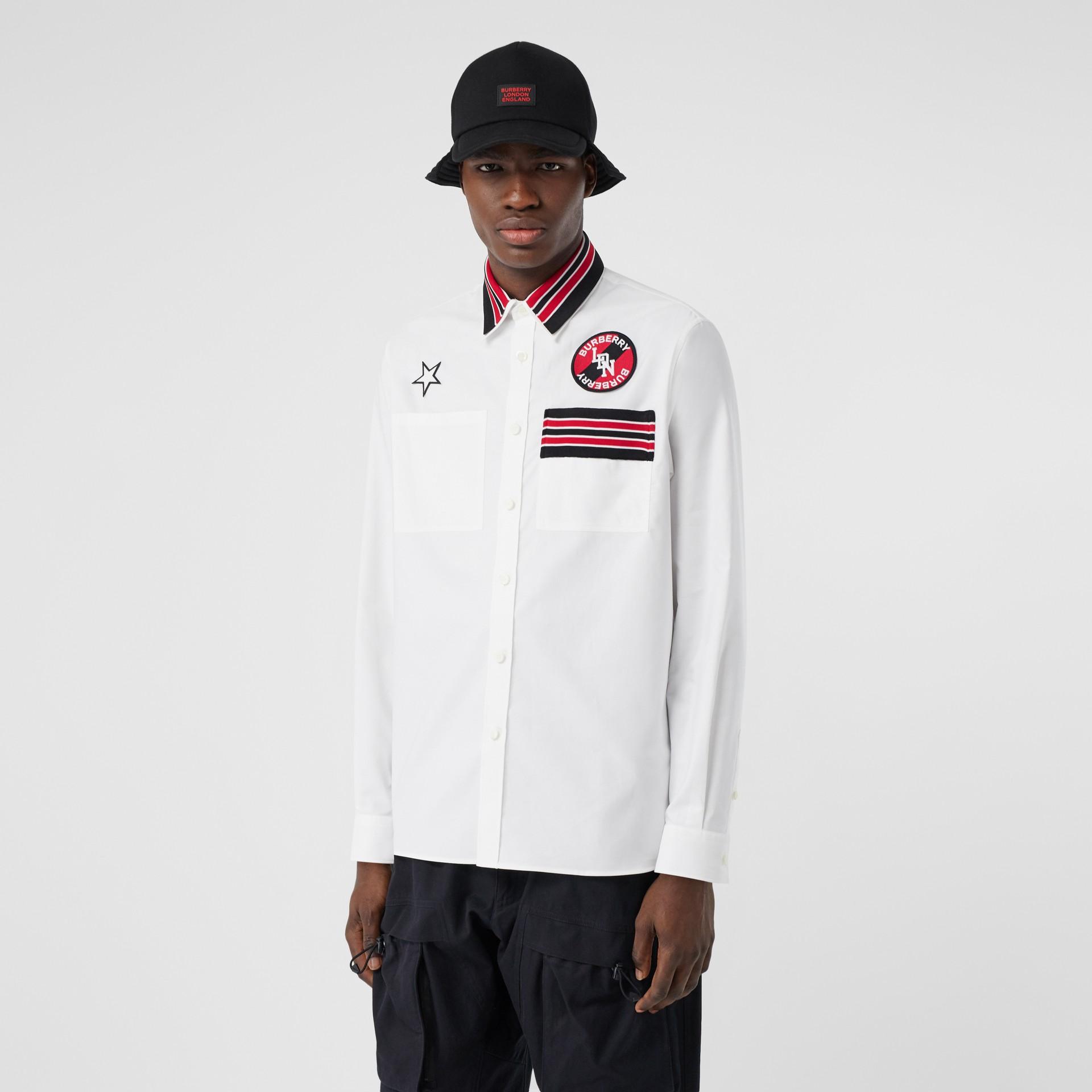 Camicia Oxford oversize in cotone con logo (Bianco) - Uomo | Burberry - immagine della galleria 5