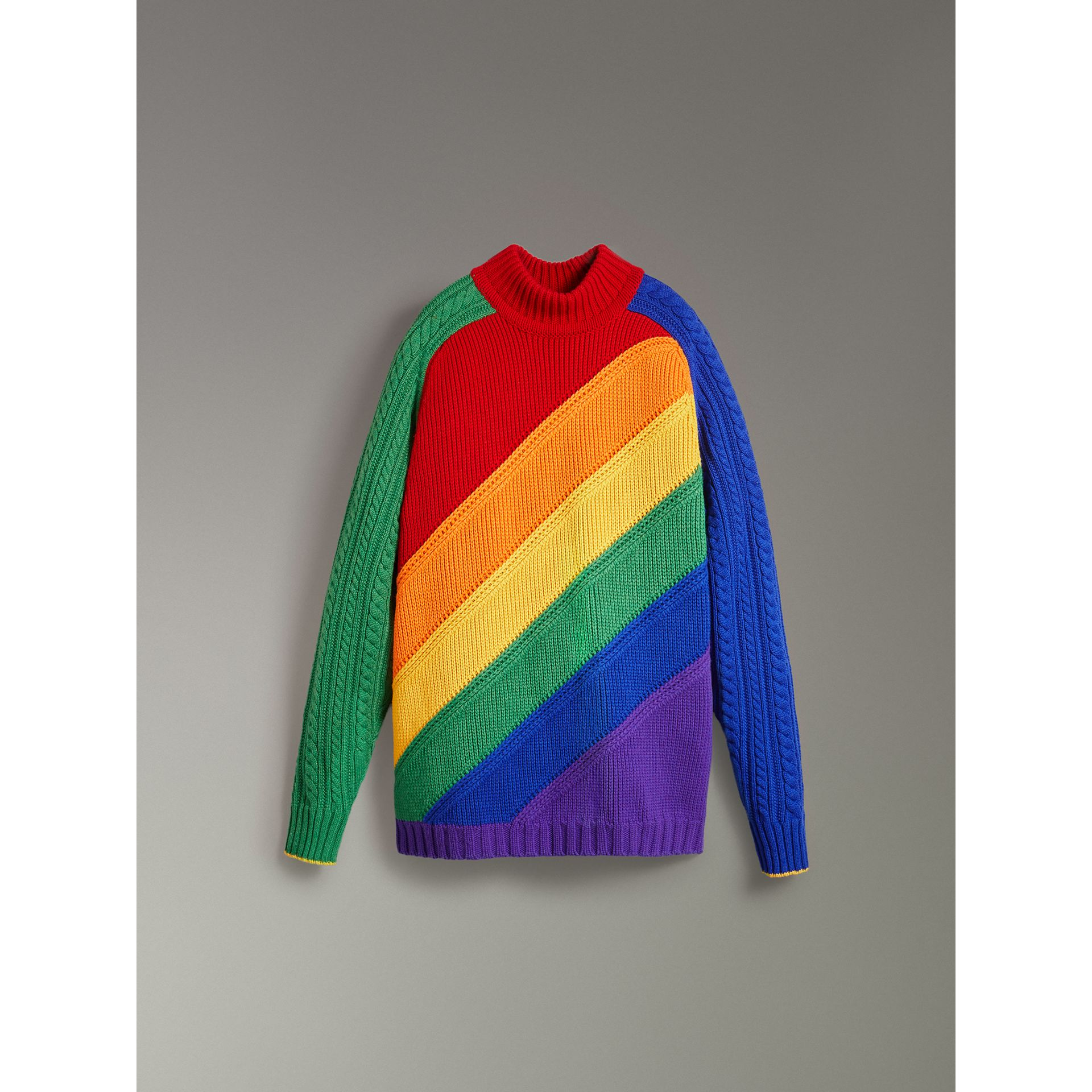 Rainbow Wool Cashmere Sweater | Burberry Singapore - gallery image 3