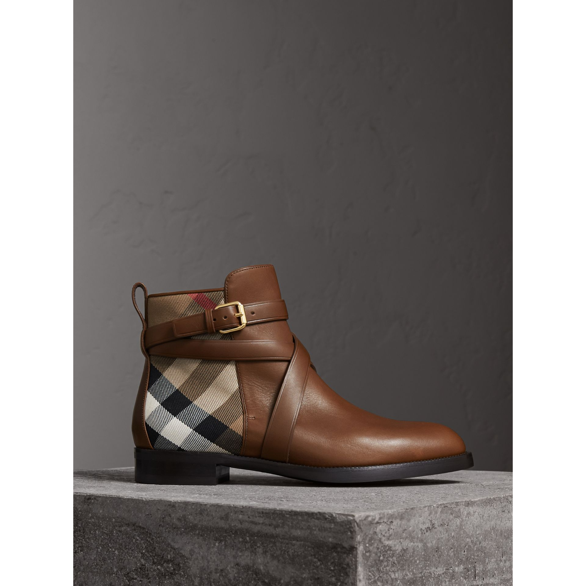 Strap Detail House Check and Leather Ankle Boots in Bright Camel - Women | Burberry Canada - gallery image 0
