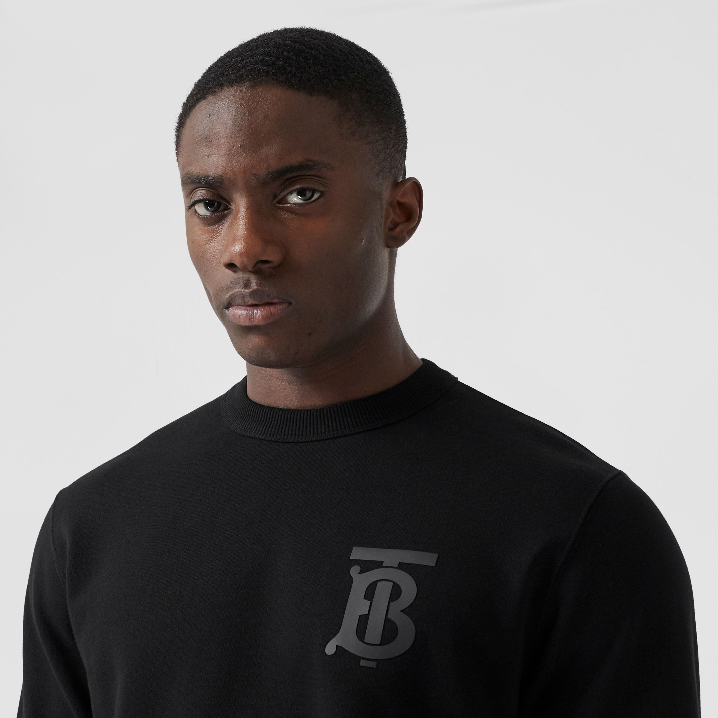 Monogram Motif Cotton Sweatshirt in Black - Men | Burberry - 2