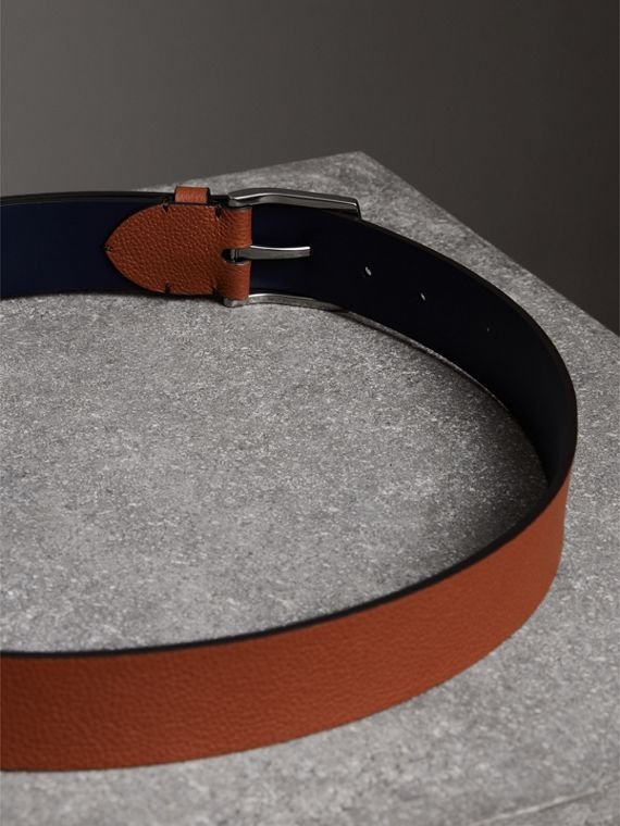 Grainy Leather Belt in Russet Brown - Men | Burberry - cell image 3