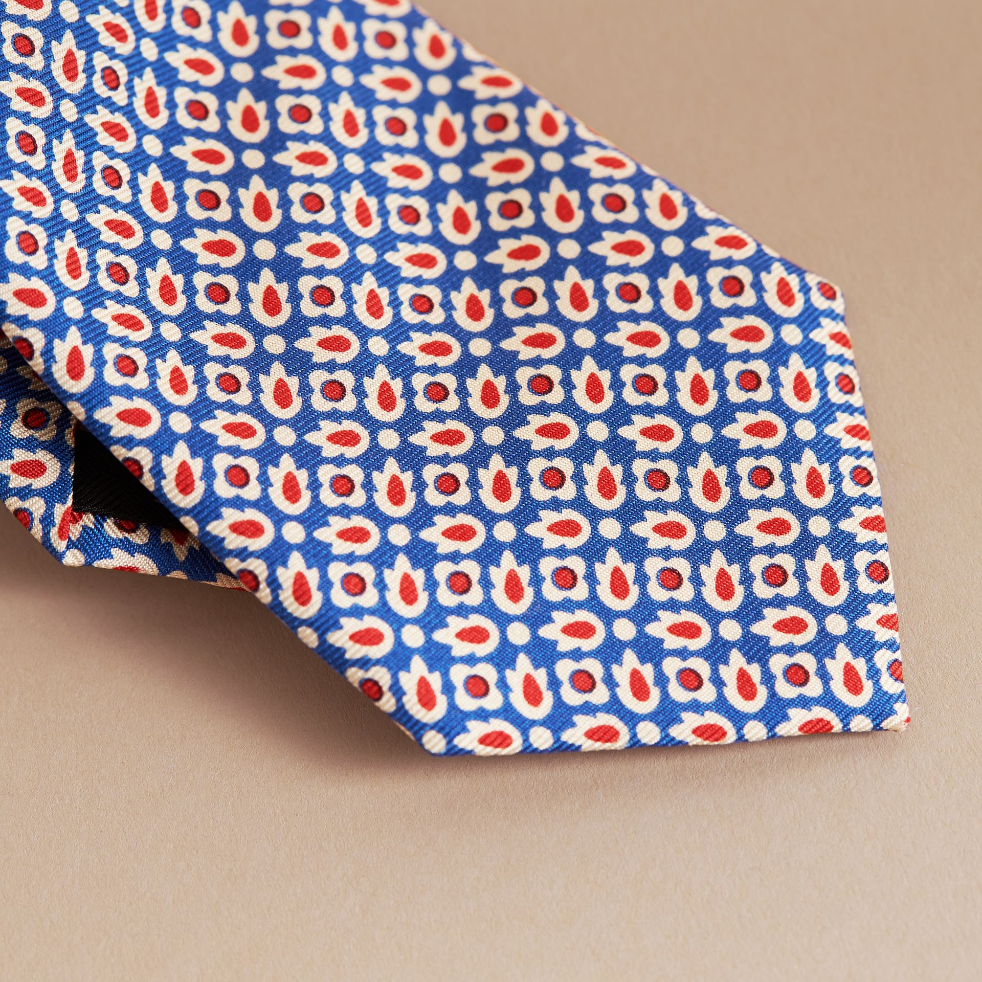Slim Cut Abstract Floral Silk Tie in Pale Canvas Blue - Men | Burberry - gallery image 2
