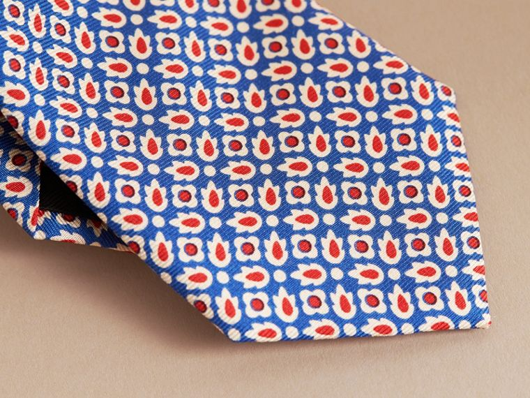 Slim Cut Abstract Floral Silk Tie in Pale Canvas Blue - Men | Burberry - cell image 1