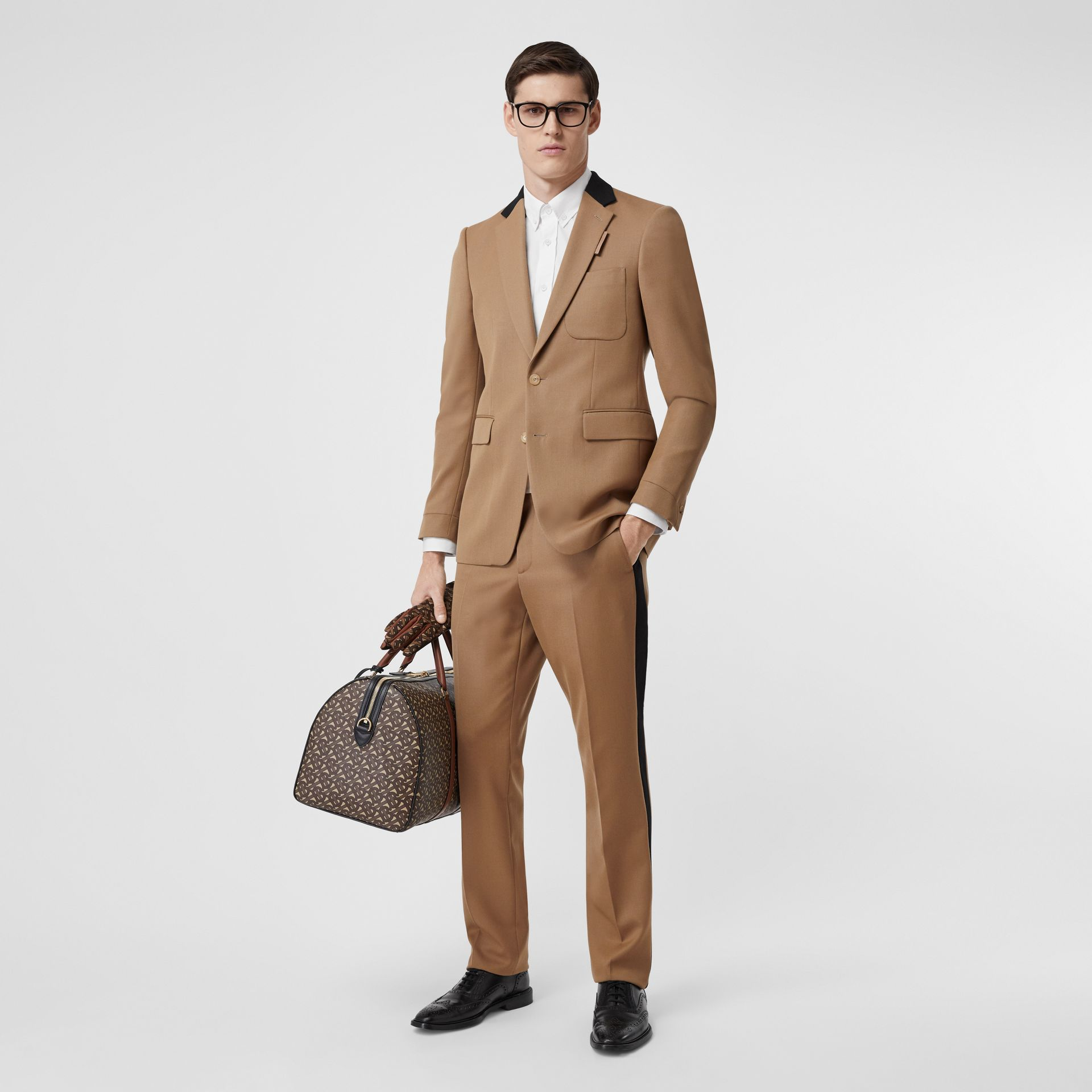 Classic Fit Side Stripe Wool Tailored Trousers in Camel - Men | Burberry Canada - gallery image 0