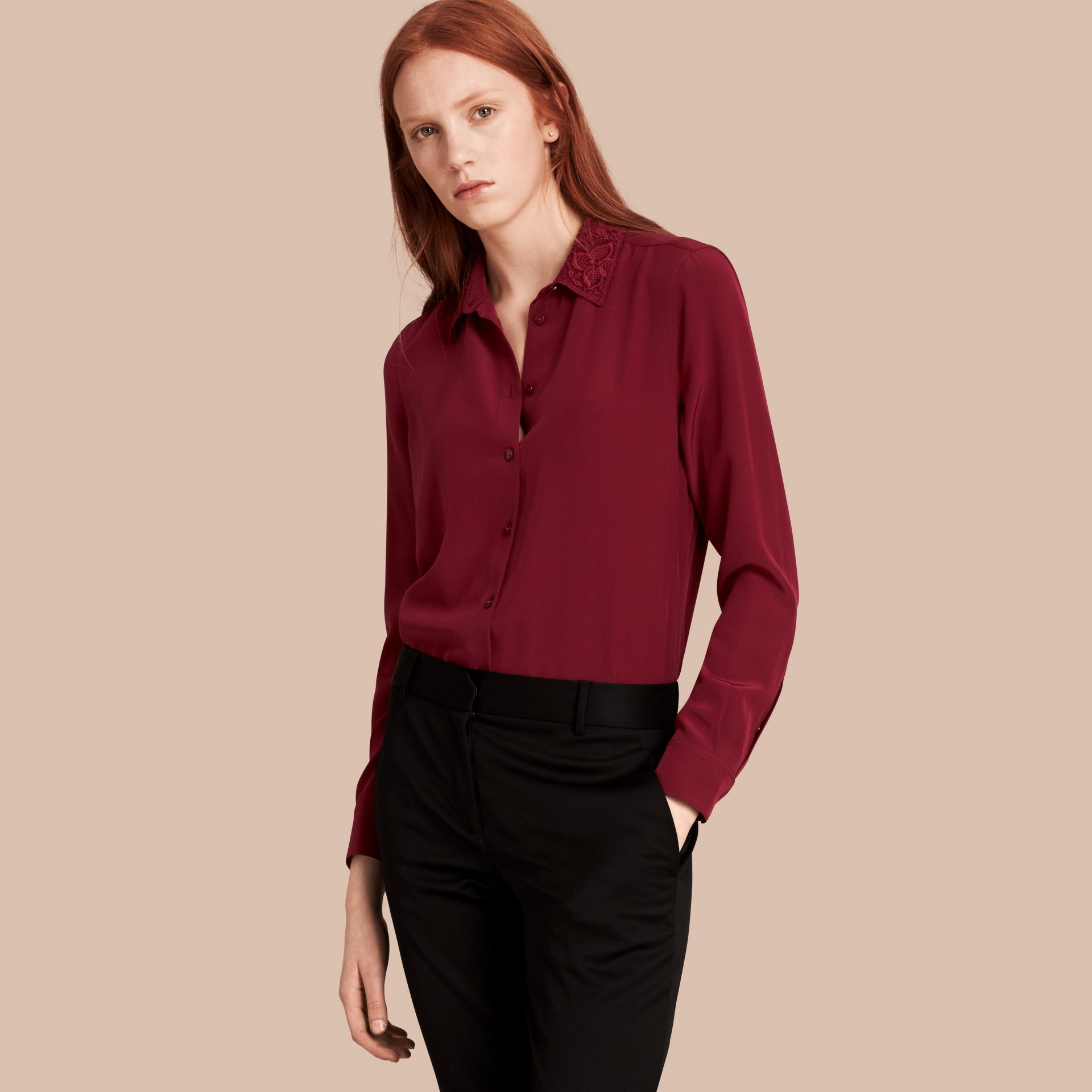 Dark crimson Lace Collar Silk Shirt Dark Crimson - gallery image 1