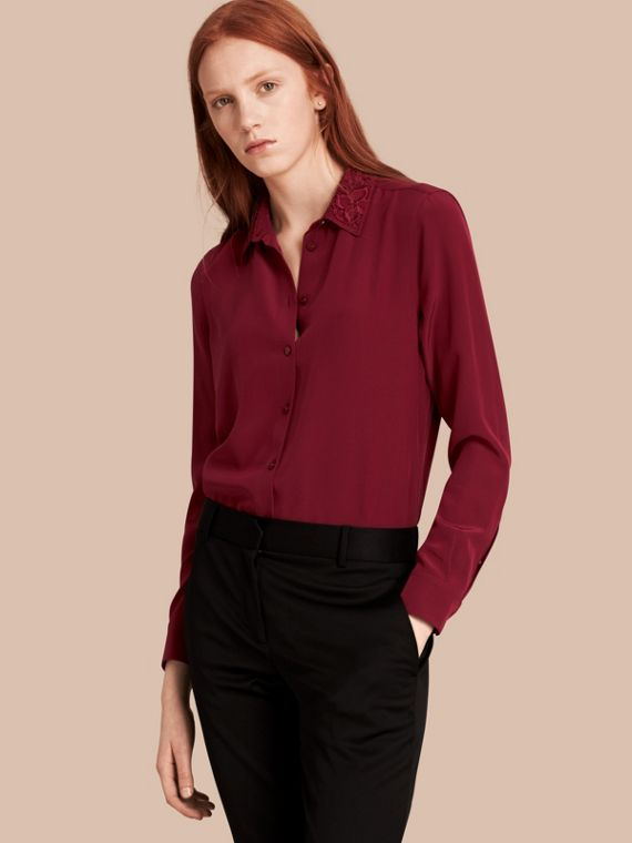 Lace Collar Silk Shirt Dark Crimson