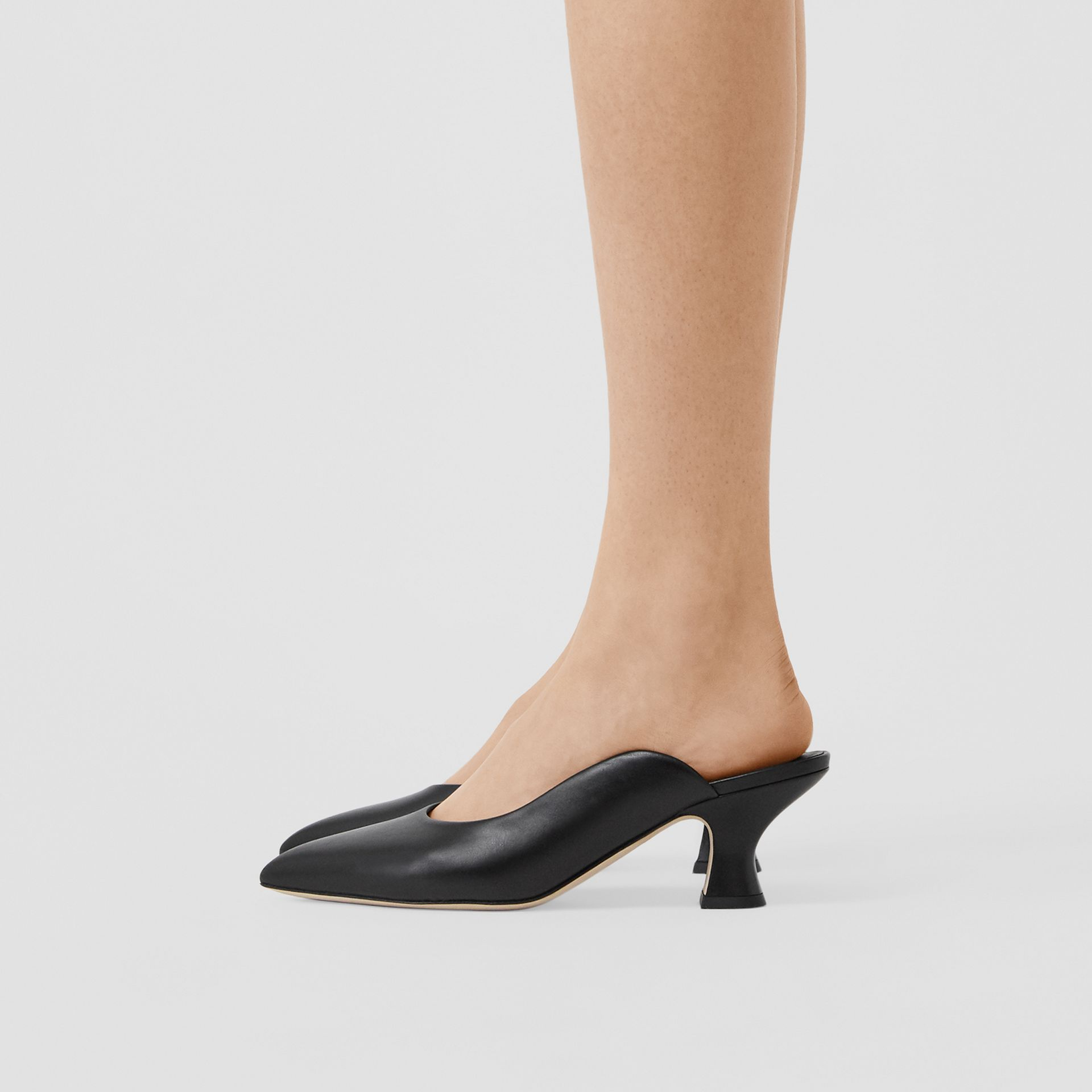 Leather Point-toe Mules in Black - Women | Burberry - gallery image 2