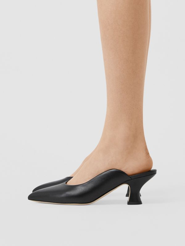 Leather Point-toe Mules in Black - Women | Burberry United Kingdom - cell image 2