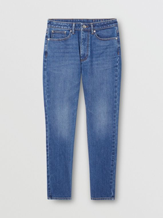 Straight Fit Japanese Stretch Denim Jeans in Indigo