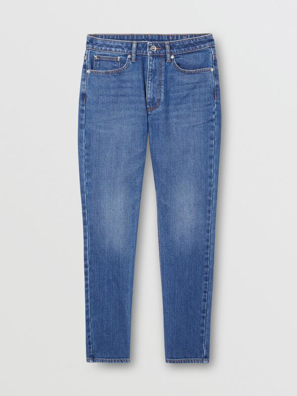 Straight Fit Japanese Stretch Denim Jeans in Indigo - Women | Burberry Hong Kong S.A.R - cell image 3