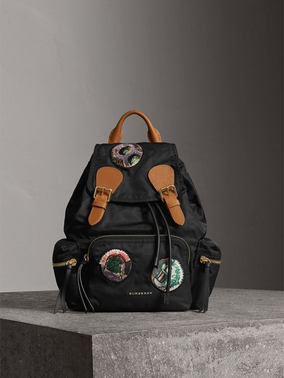 The Medium Rucksack in Technical Nylon with Pallas Heads Appliqué in Black