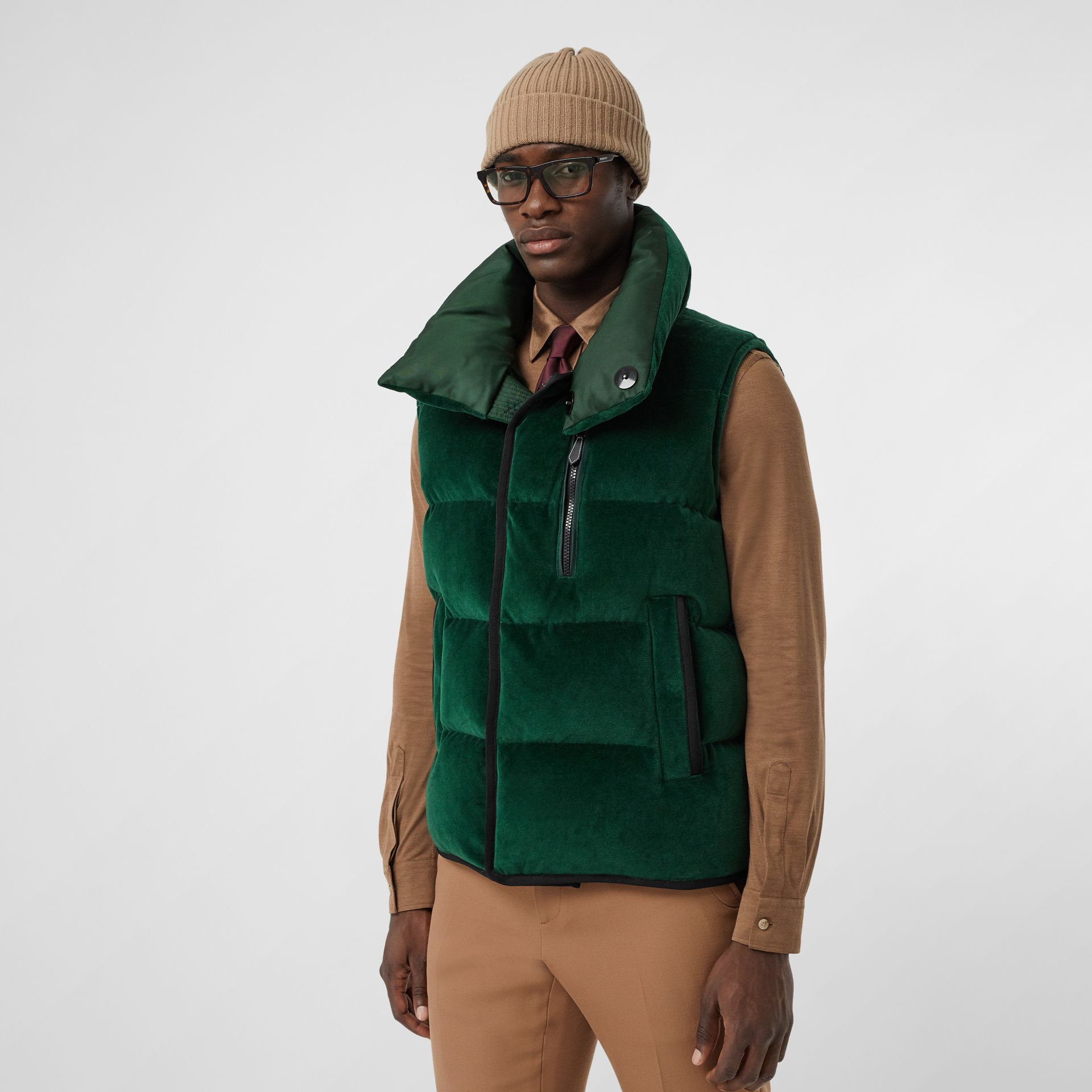 Satin Trim Chenille Puffer Gilet in Pine Green - Men | Burberry Singapore - gallery image 6
