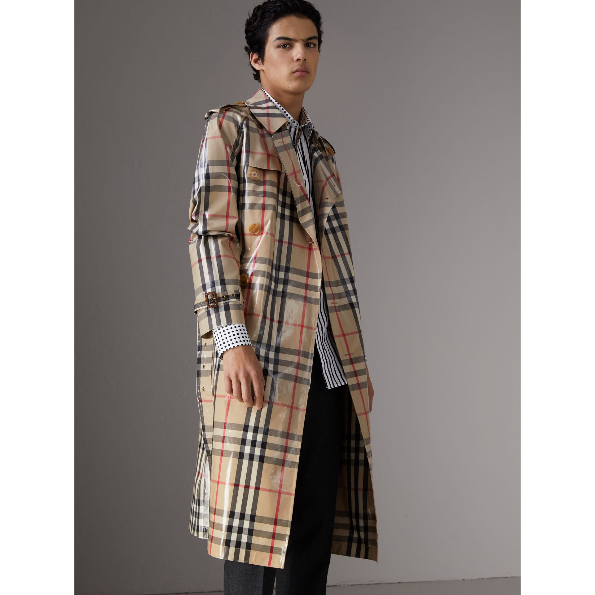 Laminated Check Cotton Trench Coat in New Classic - Men | Burberry - gallery image 6