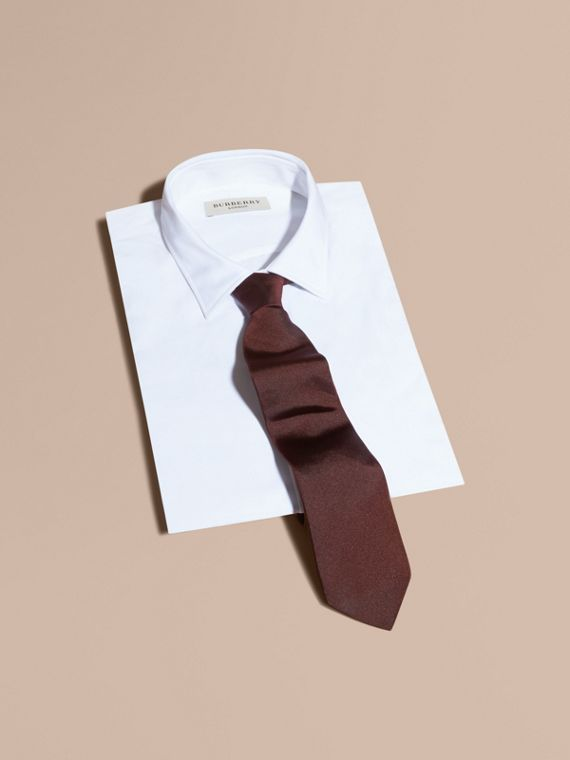 Modern Cut Silk Twill Tie in Deep Claret - Men | Burberry Australia - cell image 3