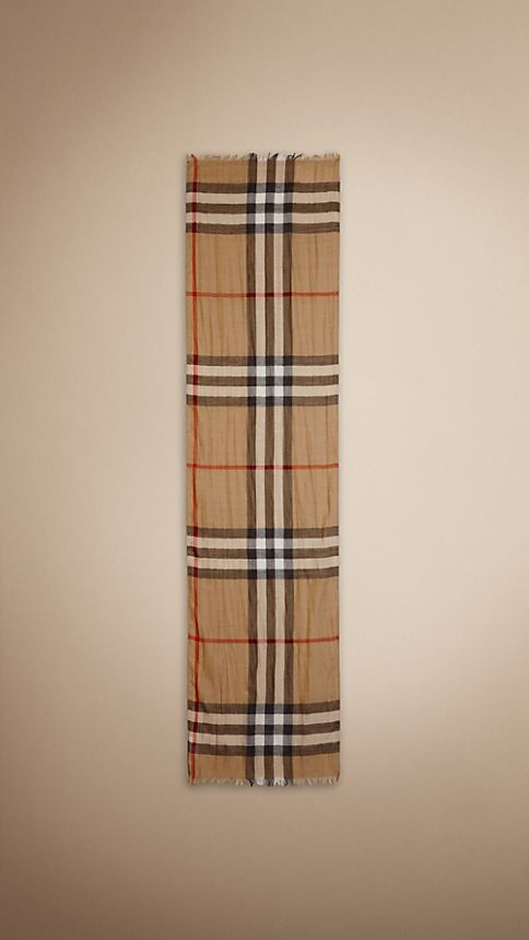 Camel check Exploded Check Wool Silk Scarf - Image 2