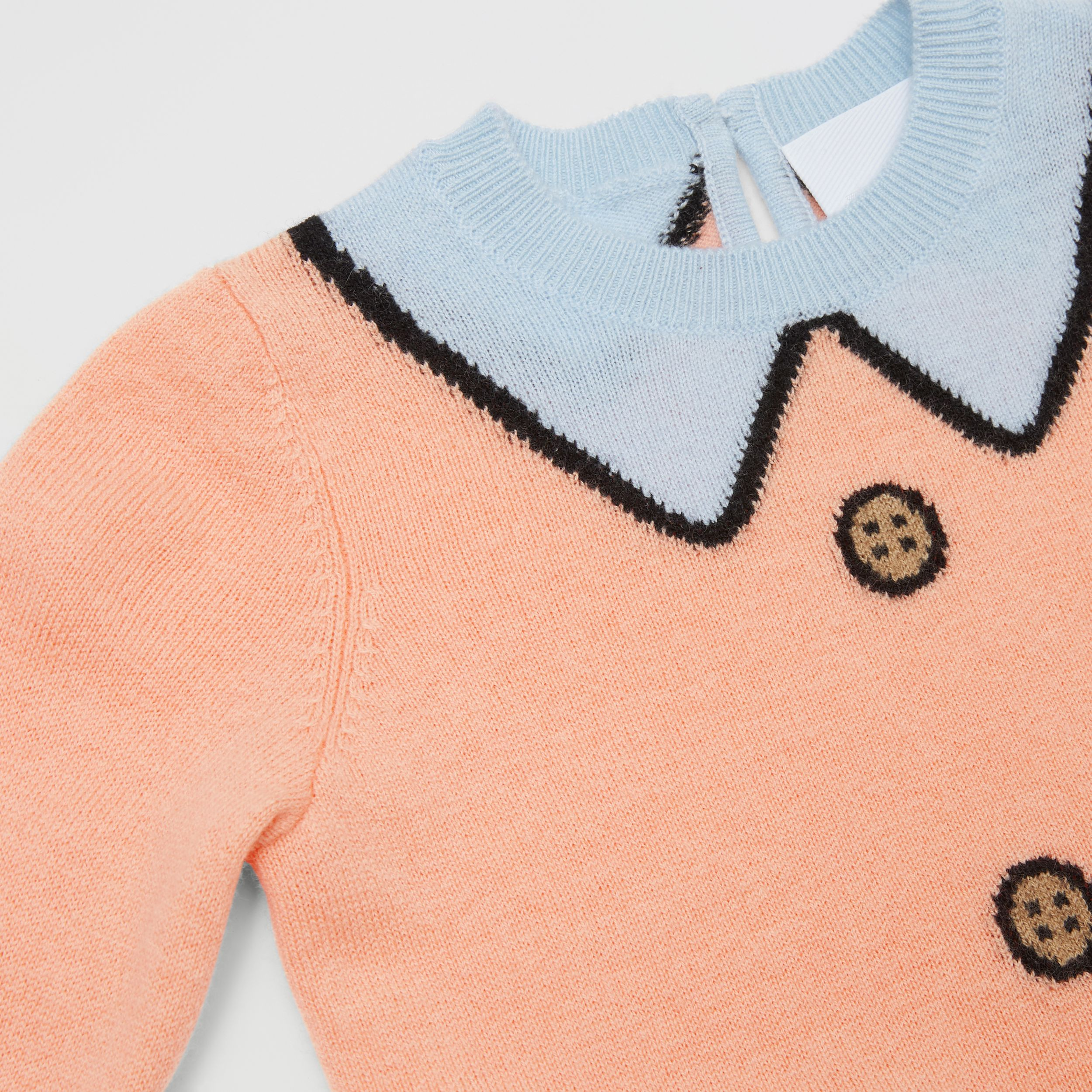 Trompe L'Oeil Intarsia Wool Cashmere Sweater in Peach - Children | Burberry - 2
