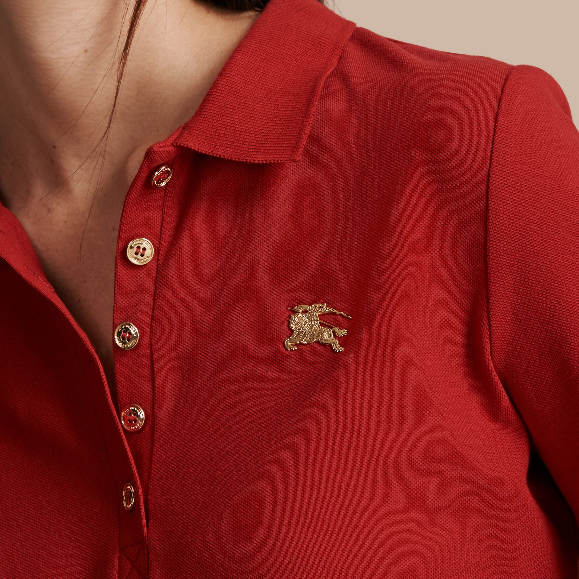 Long-sleeved Stretch Cotton Piqué Polo Shirt in Military Red - gallery image 5