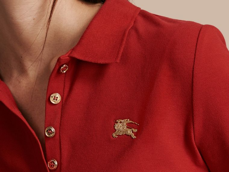 Long-sleeved Stretch Cotton Piqué Polo Shirt in Military Red - cell image 4