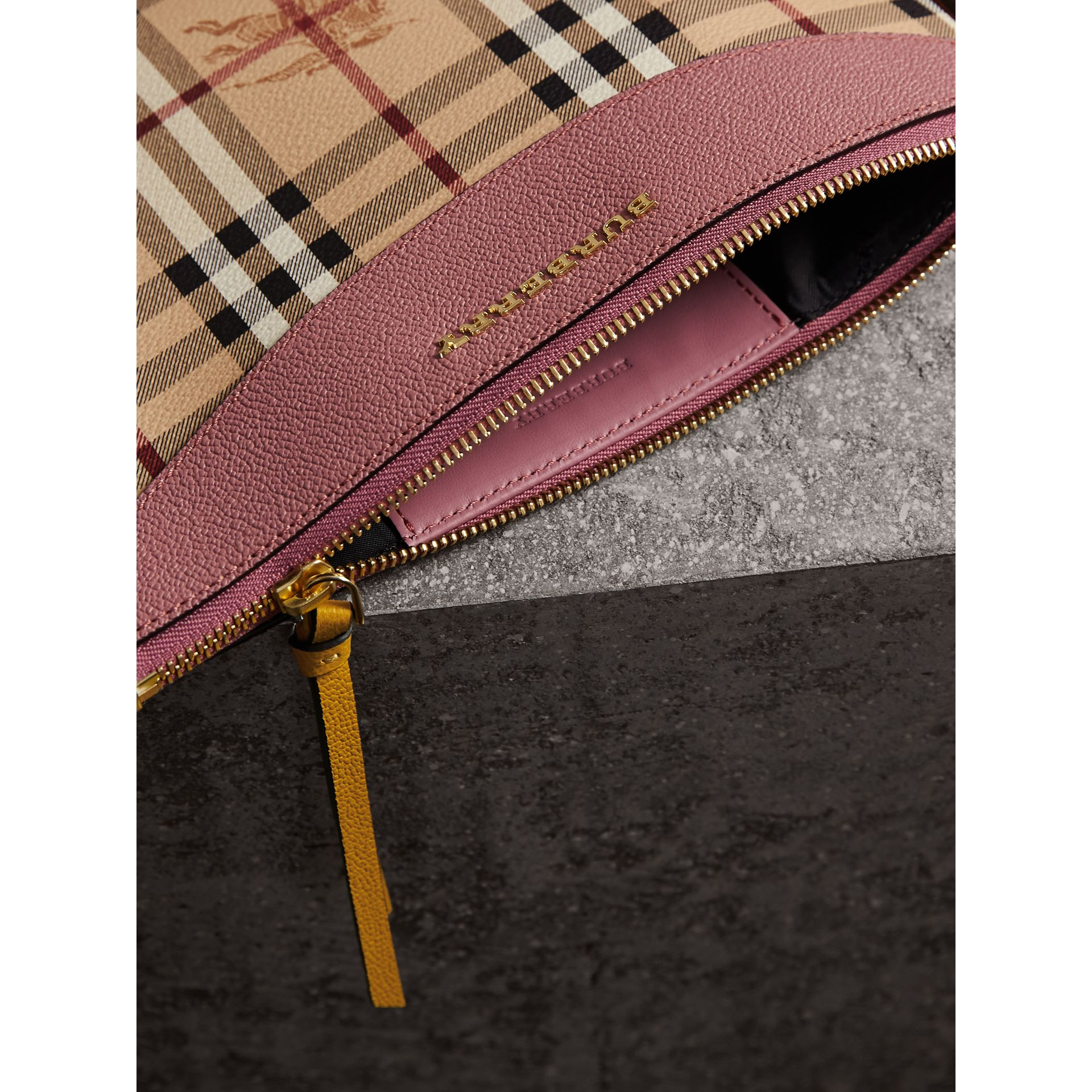 Haymarket Check and Two-tone Leather Clutch Bag in Dusty Pink/multicolour - Women | Burberry Hong Kong - gallery image 6