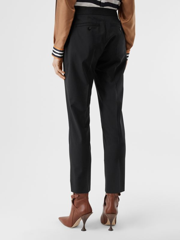Side Stripe Stretch Wool Tailored Trousers in Black - Women | Burberry - cell image 2