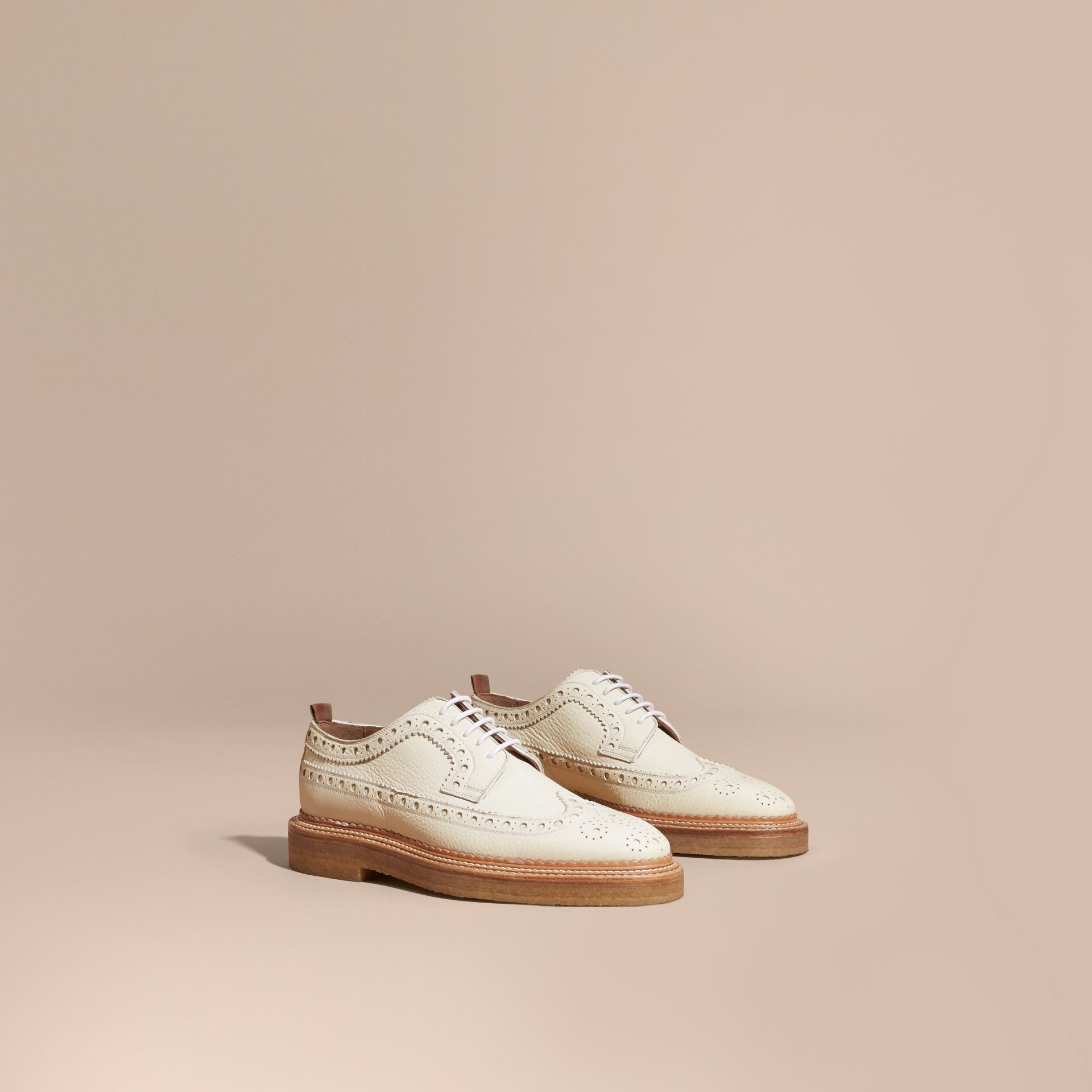 Leather Wingtip Brogues Off White - gallery image 1