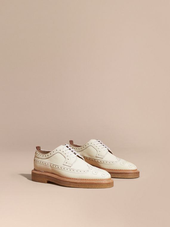 Leather Wingtip Brogues in Off White