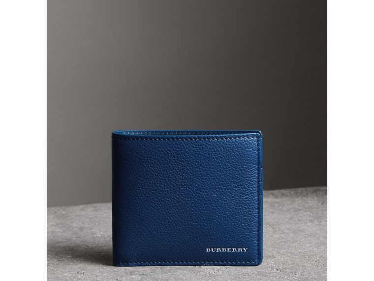 Grainy Leather International Bifold Wallet in Bright Ultramarine - Men | Burberry - cell image 4