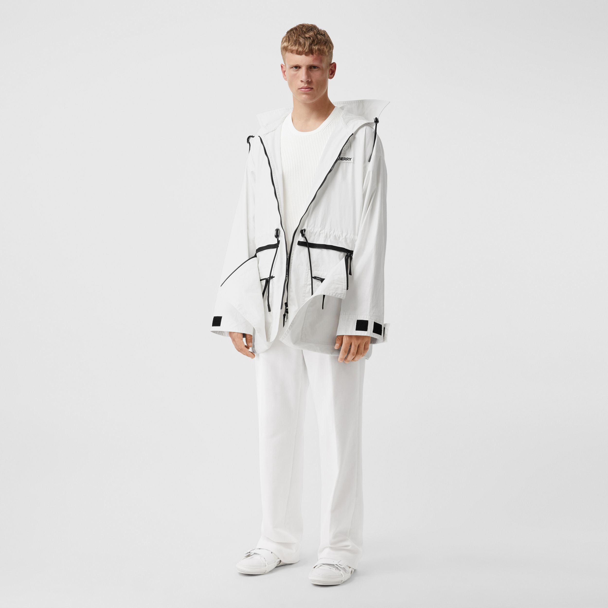 Zip Panel Technical Cotton Parka in Optic White - Men | Burberry - 1