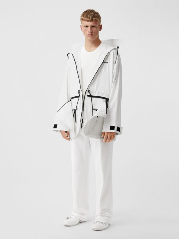 Zip Panel Technical Cotton Parka in Optic White