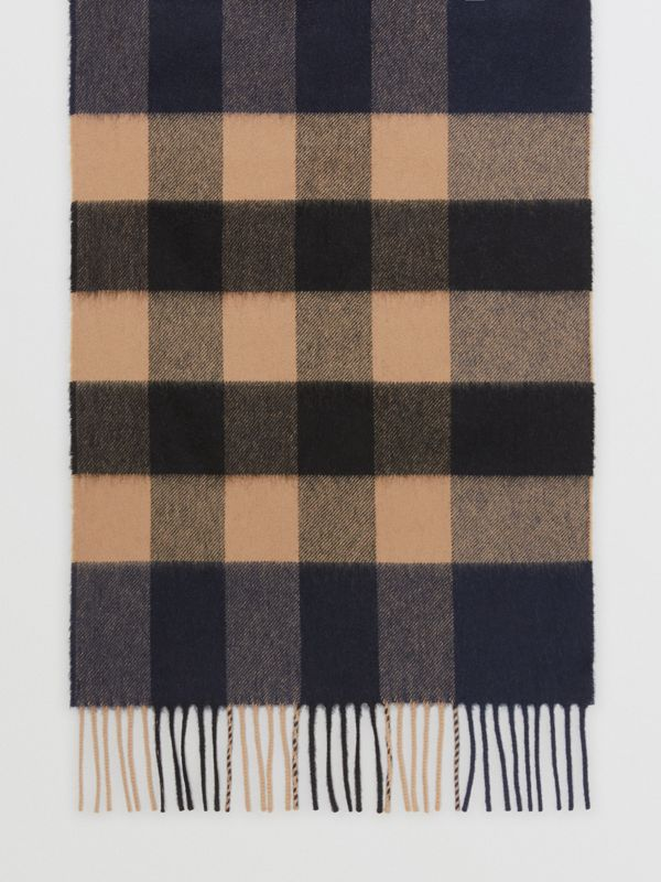 Check Cashmere Scarf in Indigo | Burberry - cell image 2