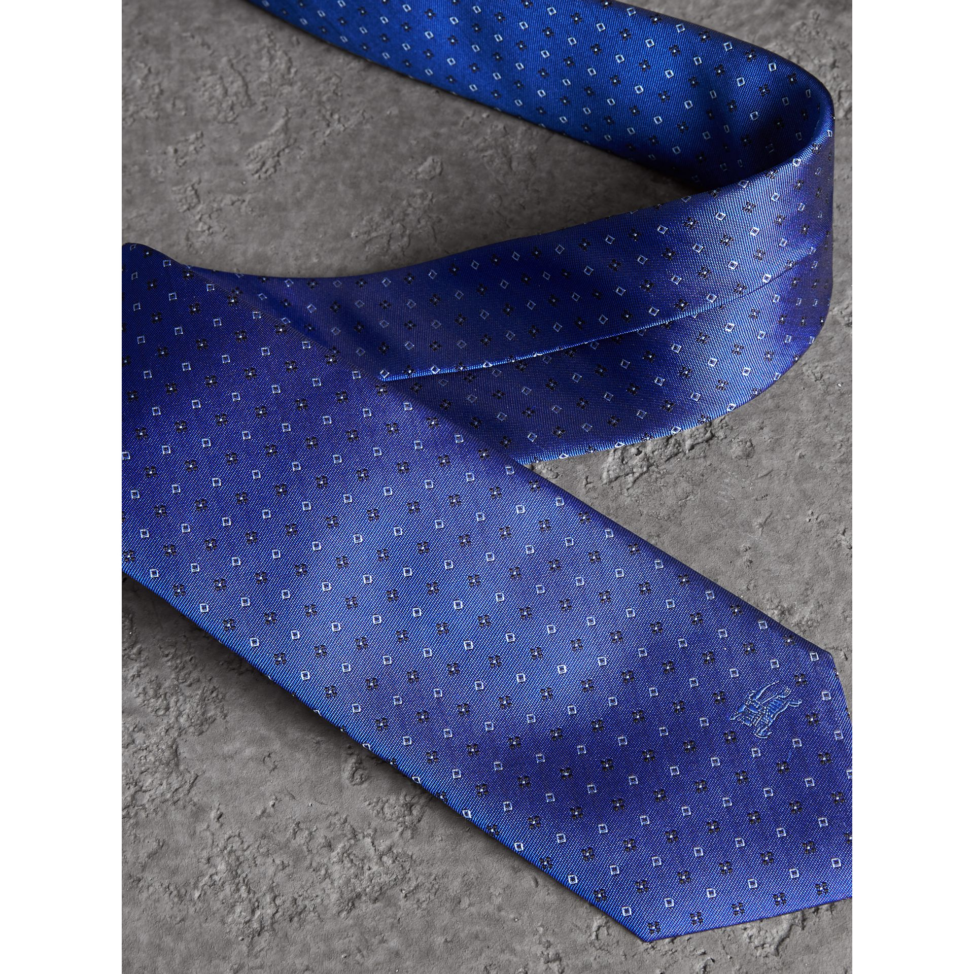 Modern Cut Micro Square Silk Tie in Bright Cobalt Blue - Men | Burberry - gallery image 1