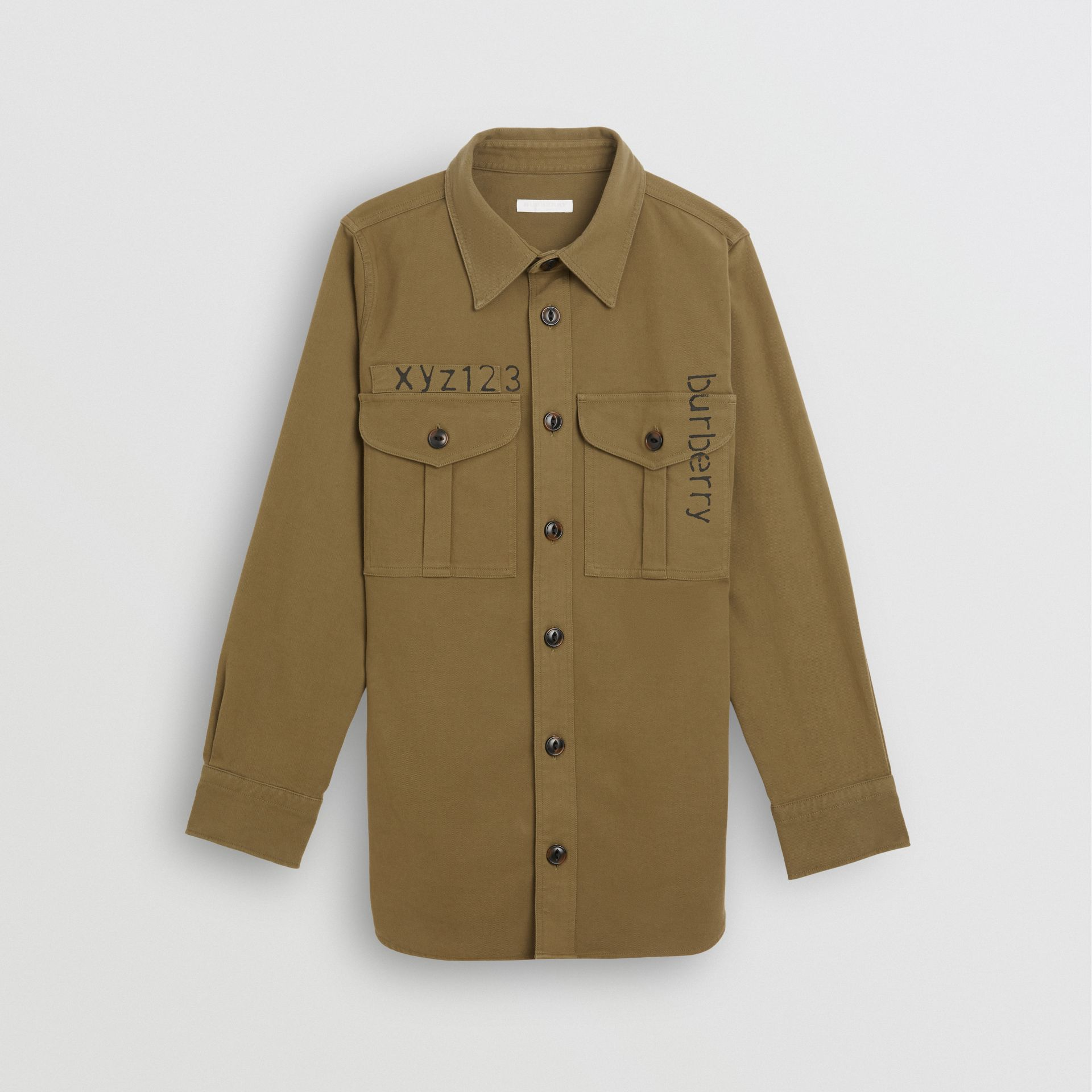 Stencil Print Cotton Wool Army Shirt in Olive | Burberry - gallery image 0