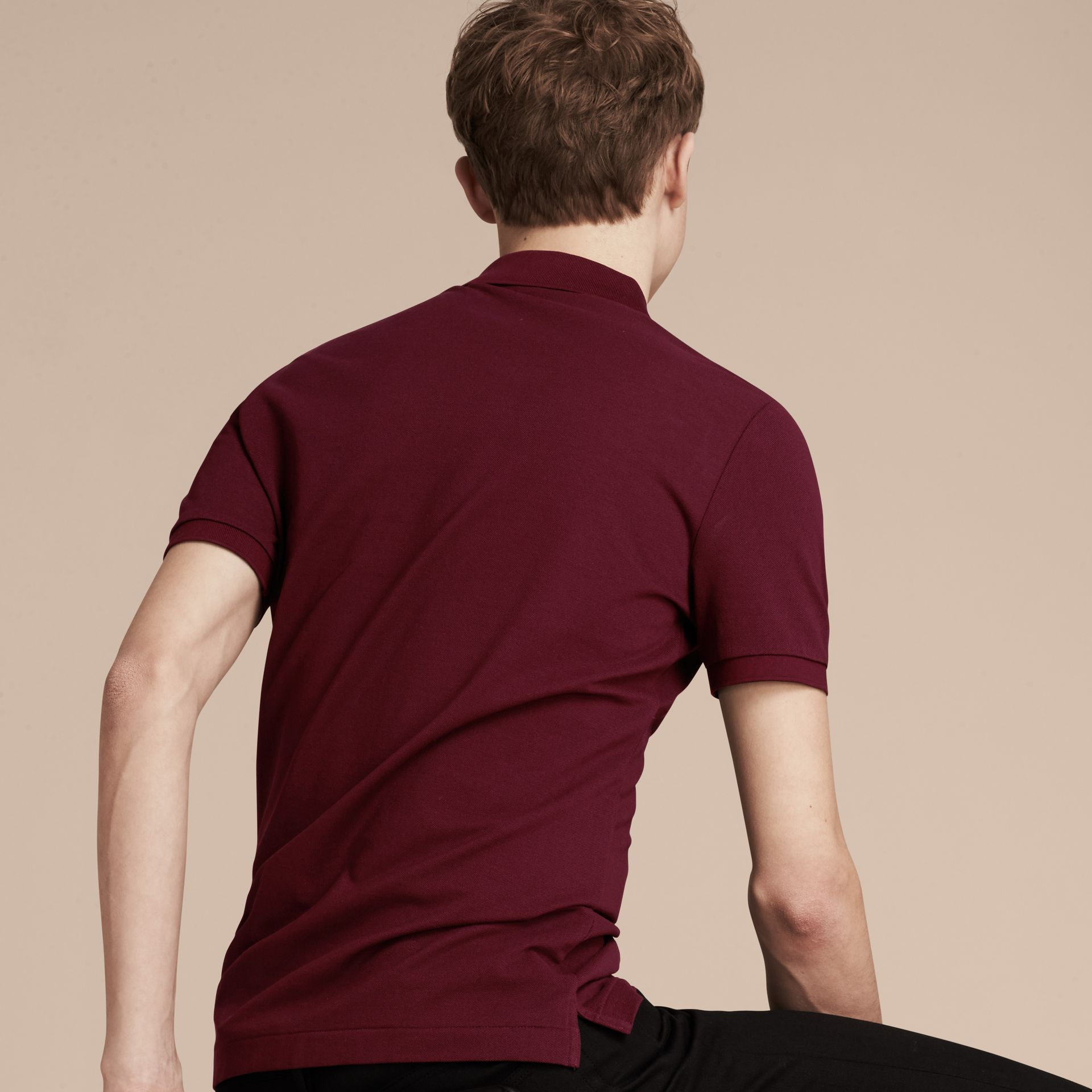 Burgundy red Fitted Mercerised Cotton-Piqué Polo Shirt Burgundy Red - gallery image 3